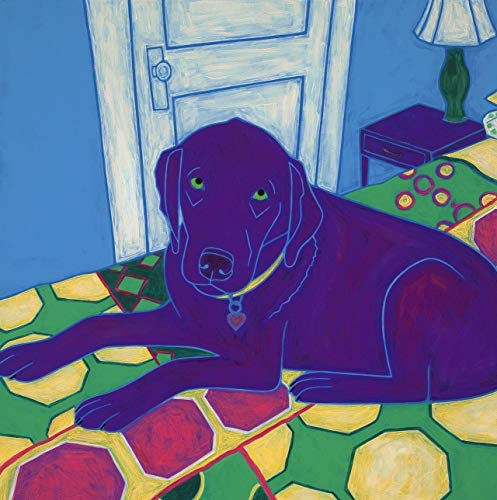 On the Bed Again Chocolate Lab Tile Coaster, Collectible Dog Art by Angela Bond