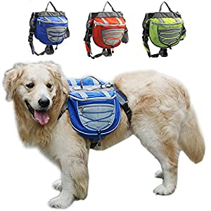 FengTu Camping Hiking Dog Packs Backpacks Adjustable Service Dog Supply Backpack Harness Lifeunion Saddle Bag for Training Hiking Dog Packs