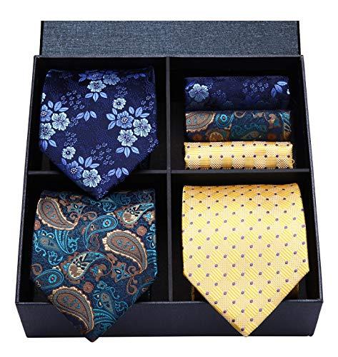 HISDERN Lot 3 PCS Classic Men's Tie Set Necktie & Pocket Square Elegant Neck Ties Collection,T3-08,One Size