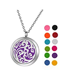 Stainless Steel Aromatherapy Essential Oil Diffuser Necklace with Auspicious Clouds for Women,Silver Tone