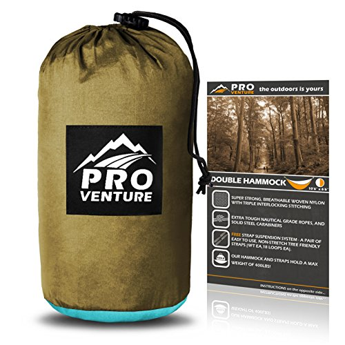 Proventure Double Camping Hammock – Lightweight and Compact – For Backpacking, the Beach, Back Yard, Travel, or Any Adventure! – FREE 9ft Tree Straps