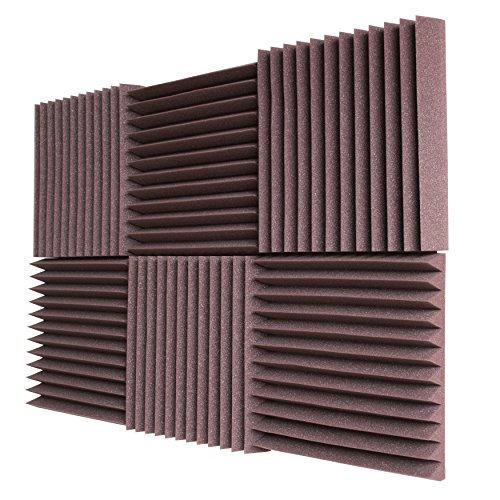 "Foamily 6 Pack - All Burgundy Acoustic Panels Studio Foam Wedges 2"" X 12"" X 12"""