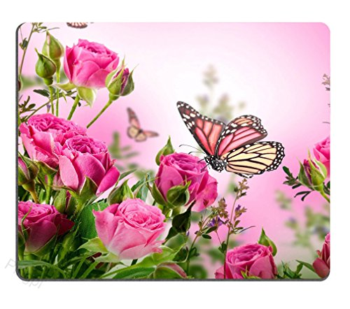 Pingpi Pink Mouse Pad Custom,Flower Decor Butterfly Fliying on the Pink Rose Personalized Design Non-Slip Rubber Mousepad