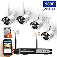 [Expandable System]Wireless Security Camera System,SMONET Full HD 8CH 1080P Video Security System with 1TB HDD,4pcs 960P Indoor/Outdoor Wireless IP Cameras,65ft Night Vision,Plug&Play,Easy Remote View