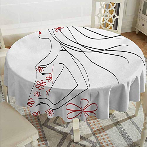 ScottDecor Restaurant Round Tablecloth Girls Young Girl in Dress with Flower Ornamentals Butterfly Blowing Hair Art Charcoal Grey Vermilion Picnic Cloth Diameter 60