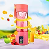 Juicer, Household Juicer Press, Portable Juicer Machines Make Juices And Smoothies, Good For Home/Picnic/Gym/Travel,Food-Grade Healthy Material, Electric Operate,400ML(Pink)