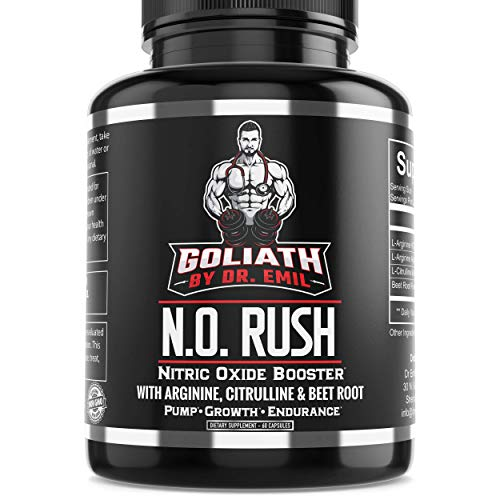 Goliath by Dr. Emil N.O. Rush Nitric Oxide Supplement with L Arginine, L Citrulline Malate & Beet Root – for Muscle Growth, Vascularity & Endurance