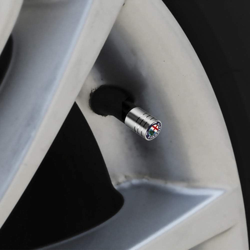 Tappi In Metallo Antipolvere Stelo Pneumatico Accessori Auto 4 Pezzi Copri Tappi Antipolvere Valvola Pneumatici per Alfa Romeo 159 147 156 166 Giulietta Giulia Mito Spider con Logo Emblema