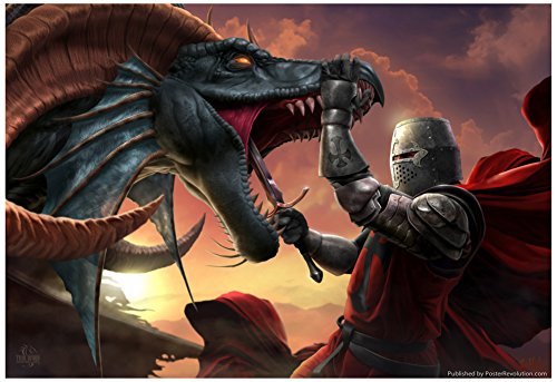 Laminated Dragonslayer Poster by Tom Wood 19 x 13in (Tom Wood Dragon compare prices)