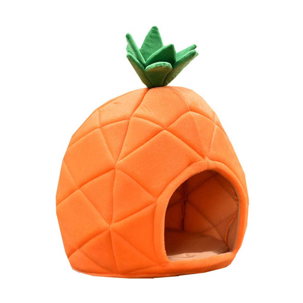 Large Pet Bed Yurt-Style Pineapple House Cute Kennel Cat Litter Small Pet Bed Fruit Shape Four Seasons Universal Beautiful and Practical (Size   Large)