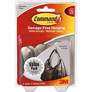 Command 3 lb Capacity Hooks, Indoor Use, 4 hooks, 6 strips