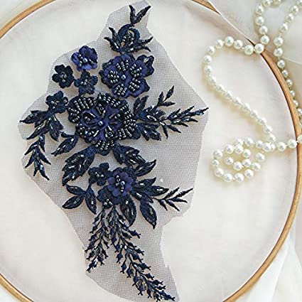 Sky Blue Hand Beaded Flower Sequence 3D Lace Applique Motif Sold by 3 Pairs Great for DIY Decorated Craft Sewing Costume Evening Bridal Top A6
