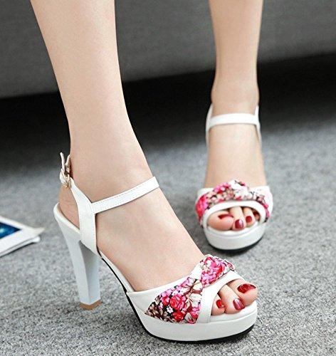 Femme Aisun Fleurs Blanc Bal Haute Imprimé Sexy Sandales Plateforme qRRUadzxv