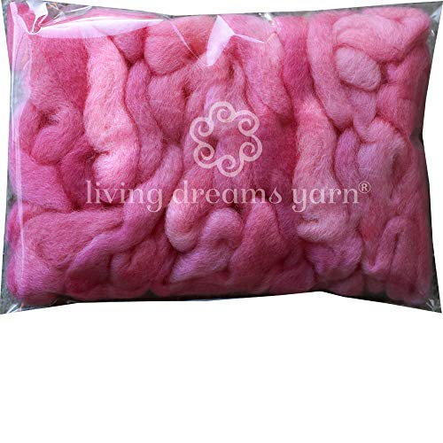 Wool Roving Hand Dyed. Super Soft BFL Combed Top Pre-Drafted for Easy Hand Spinning. Artisanal Craft Fiber ideal for Felting, Weaving, Wall Hangings and Embellishments. 1 Ounce. Pink