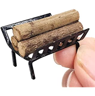 Doll House Furniture Fireplace Accessories hitonsmusu 1//12 Doll House Accessories Miniature Metal Rack with Firewood Model Toy Kids Gift