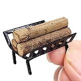 EatingBiting(R) 1:12 Dollhouse Miniature Furniture Garden Lawn Fireplace Metal Firewood Rack