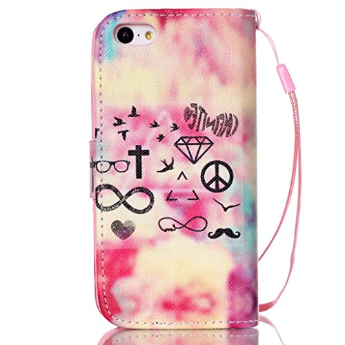 iPhone 5C Coque , Apple iPhone 5C Coque Lifetrut® [ diamant ] [Wallet Fonction] [stand Feature] Magnetic snap Wallet Wallet Prime Flip Coque Etui pour Apple iPhone 5C
