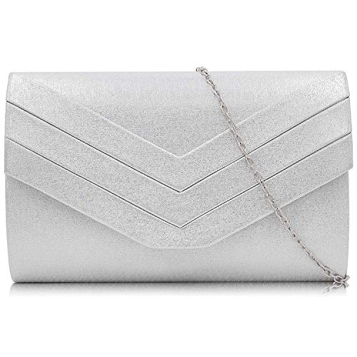 Milisente Clutch Purses Crossbody Shoulder Handbags for Women, Envelope Evening Clutch Bag (PU Silver) ()