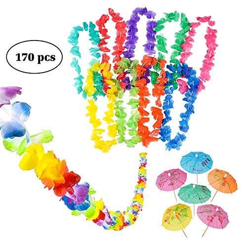 Neliblu Luau Party Supplies, Luau Bulk Party Pack Includes 1 9′ Jumbo Flower Lei Garland; 144 Paper Hibiscus Parasol Umbrellas; 25 Jumbo 36″ Tropical Flower Leis For Sale