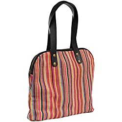 Shoulder Handbags for Women on Today's Sale - SouvNear Handmade Baguette Handbag in Canvas Material With Twin Handles & Zipper - Gifts for Her