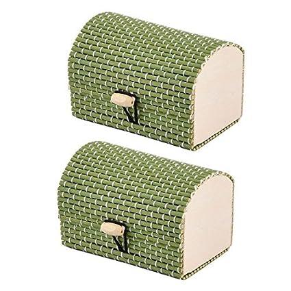 Collar joyería eDealMax de bambú hecha a mano regalo caja de almacenaje Organizador del ornamento 2