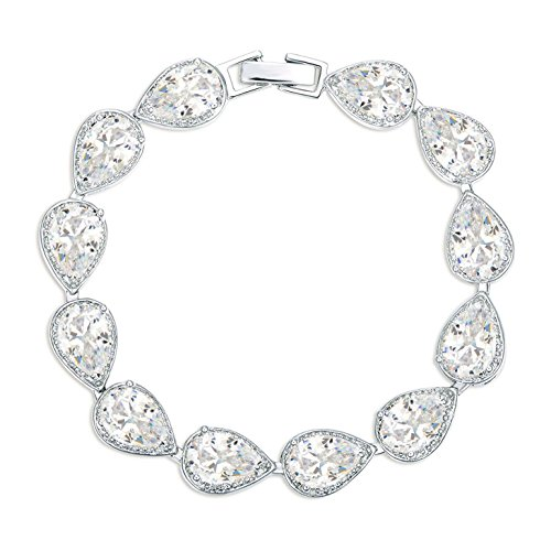 (SELOVO Women's Wedding Bridal Bracelet Cubic Zirconia Silver Tone)