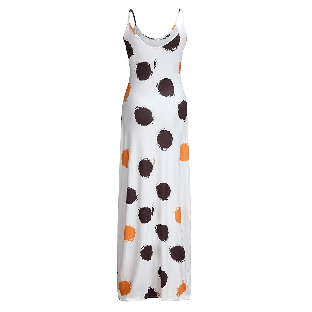 Women/'s Strappy Pocket Maxi Dress ❤ V Neck Dot Print Sleeveless Tank Top Party Club Loose Long Dresses