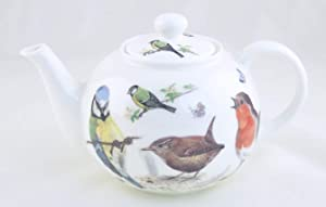 "FINE ENGLISH BONE CHINA 5 CUP TEAPOT - COFFEE TEA POT TEASET - A KIRKHAM""ROUND"" - GARDEN BIRDS - ROY KIRKHAM FINE CHINA - MADE IN ENGLAND"
