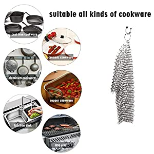 Cast Iron Cleaner,Chainmail Scrubber to Clean Cast Iron Cookware,Pan,Grill,Griddle,Grate,Moveland Kitchen Gadget- Stainless Steel Scrubber