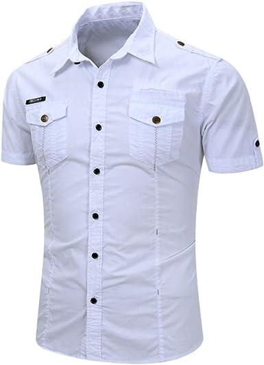 OHQ Camisa De Blusa De Hombre Camiseta De Manga Corta para Hombres BotóN Casual para Hombre O Cuello Pullover Camiseta De Manga Corta Top Blusa Elegante y asequible: Amazon.es: Ropa y accesorios