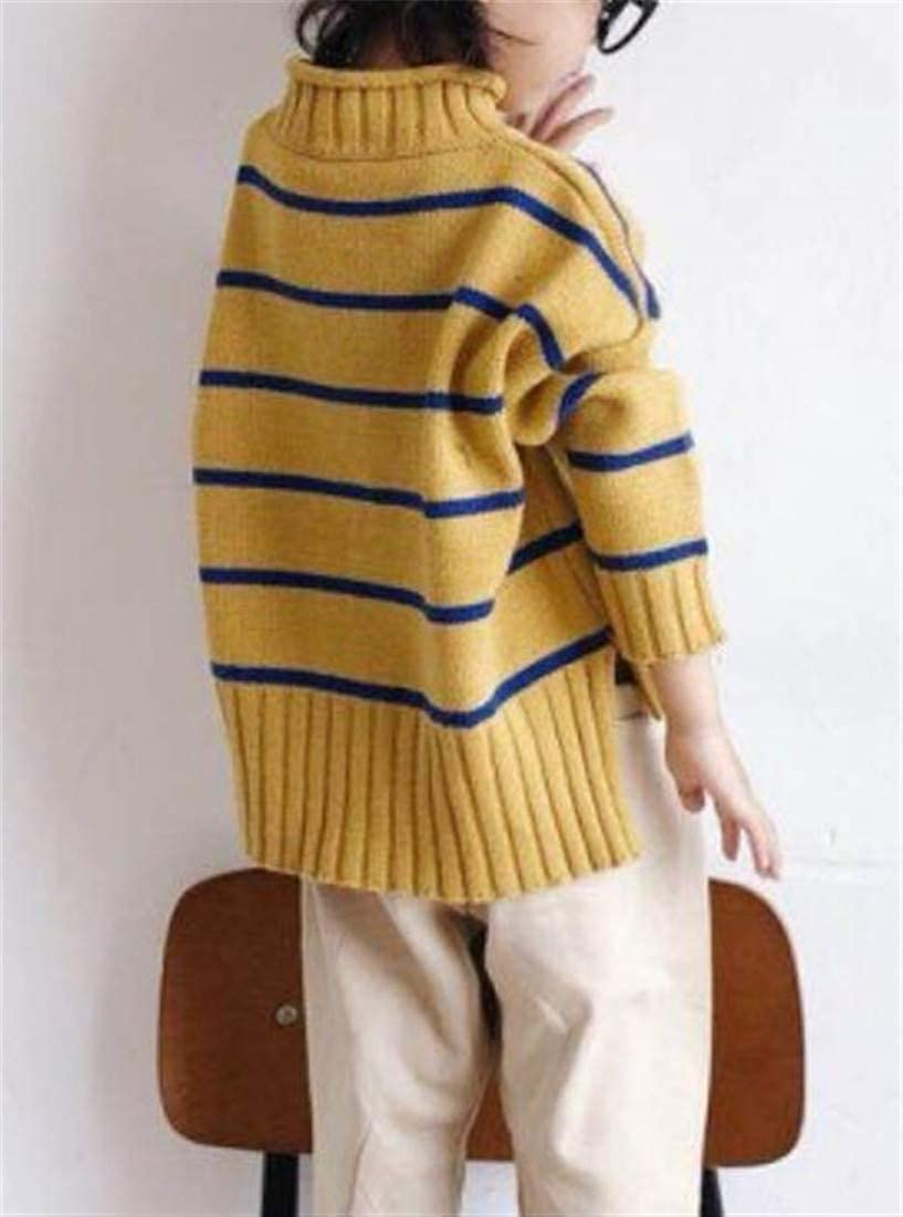 Cromoncent Girl Casual Knitted Stripe Mock Neck High Low Pullover Sweaters