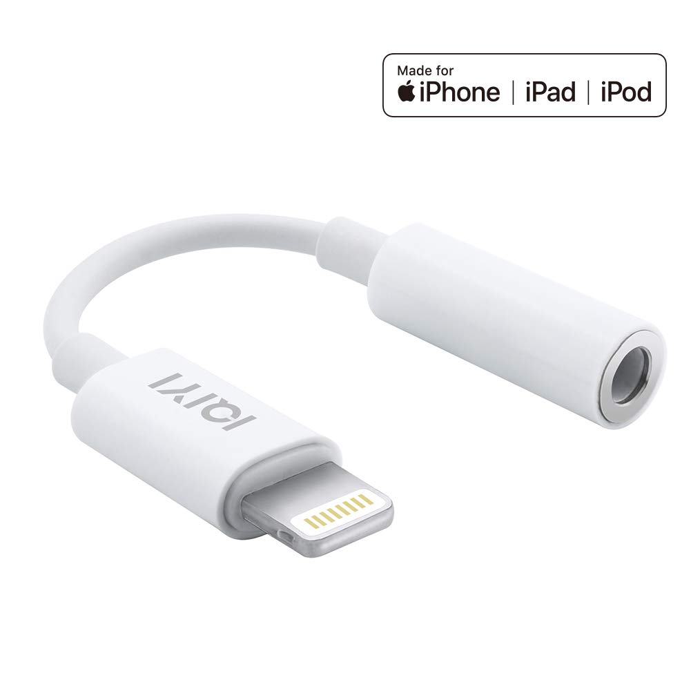 [Apple MFi Certified] Lightning to 3.5 mm Headphone Jack Adapter Compatible with iPhone 8/8 Plus/X/Xr/Xs/7/7 Plus, Music Control & Calling Function Supported,Support iOS 11,10.3 and More – White