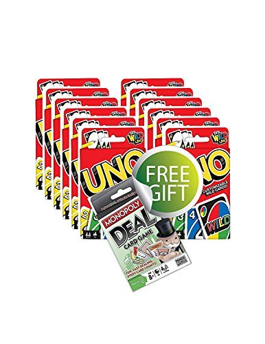 Original UNO Card Game - Buy a Pack of 12 and Receive a Free Monopoly Deal Card Game!