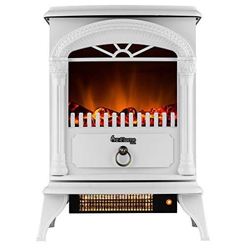 Hamilton Portable Free Standing Electric Fireplace Stove by e-Flame USA – 22-inches Tall – Winter White – Features Heater and Fan Settings with Realistic and Brightly Burning Fire and Logs (Indoor Garage Lighter)