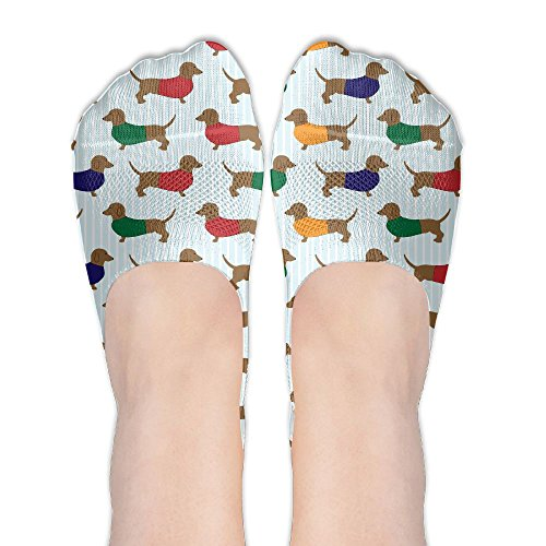 JJZ-sock Womans Dachshund Dogs Funny Pattern Boat Socks No Show Liners Casual Liner Socks Low Cut Ankle Sock