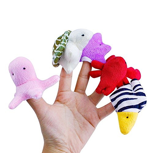 Acekid 10pcs Lovely Ocean Sea Animal Finger Puppets Plush Toys for Kid's Story Time (Ocean Animals)