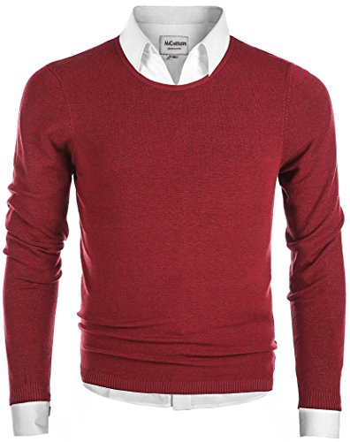 MiCotton Men's Casual Regular Fit Pullover Round-Neck Sweater Cotton Knitwear
