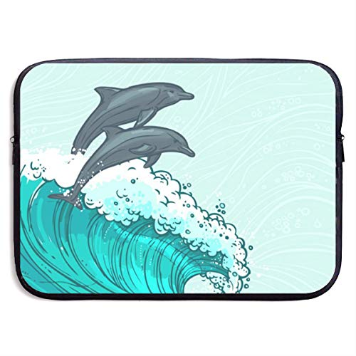 (LiaanQianga Two Surfing Dolphins in Waves Water 13-15 Inch Laptop Sleeve Bag - Tablet Clutch Carrying Case,Water Resistant, Black)