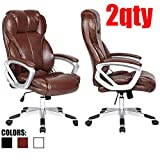2xhome - Set of Two (2) - Brown - Deluxe Professional PU Leather Big Tall Ergonomic Office High Back Chair Manager Task Conference Executive Swivel Tilt Padded Arms