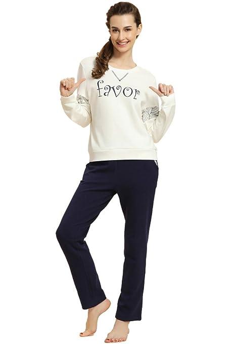 MissFox Cómodo Carta Impresión Dos Piezas Pijamas Conjunto Diseño Pijamas Para Mujer Size XXL ArmadaW