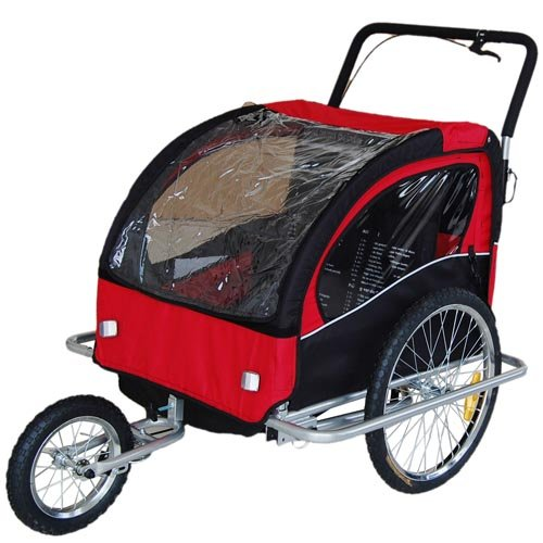 Amazon.com: Veelar Children Bicycle Trailer Jogging Stroller Combo 2 in 1 Red/Black 50201。: Baby