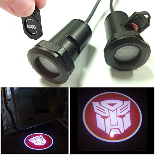 CHAMPLED for Transformers-Autobot red Car LED Laser Projector Illuminated Emblem Under Door Step Courtesy Light Lighting Symbol Sign Badge Glow Replacement Logo Film Auto Acessories