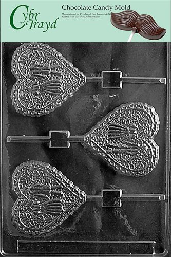 Cybrtrayd W025 Lacy Bride and Groom Heart L Wedding Chocolate Candy Mold