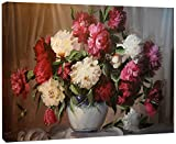 Bouquet of Blooming Peonies Large Floral Wall Art Canvas Print
