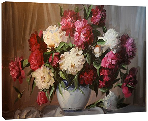Bouquet of Blooming Peonies Large Floral Wall Art Canvas Print by Design Art