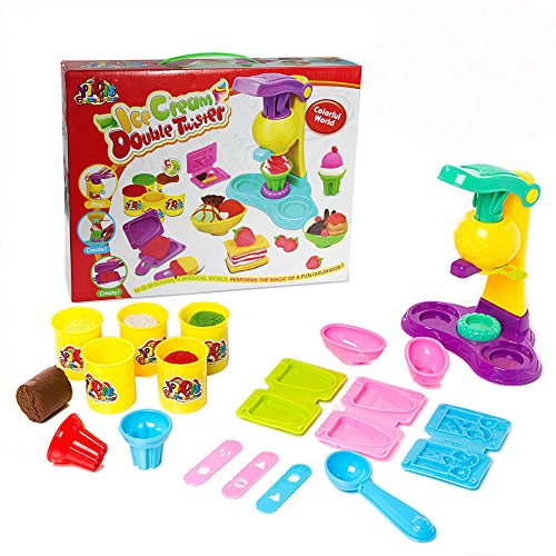 SZJJX Modeling Dough Ice Cream Double Twister Playset Toys Deluxe Plasticine Mud with Bonding Clay and Molds 8818-A