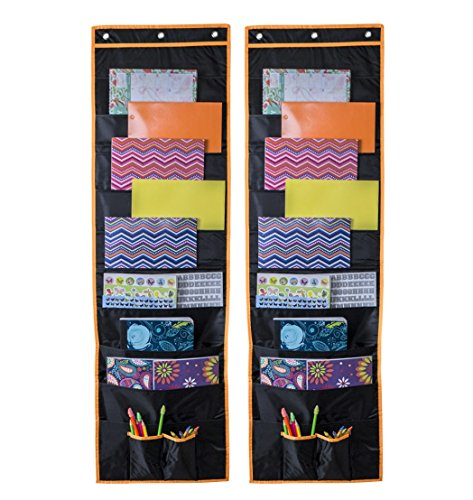 Wall Storage Pocket Chart, Hanging File Folder Organizer with 10 Deep Pockets and Reinforced Seams, Perfect for Office, Classroom, and Bedroom (2 Pack 10 ()