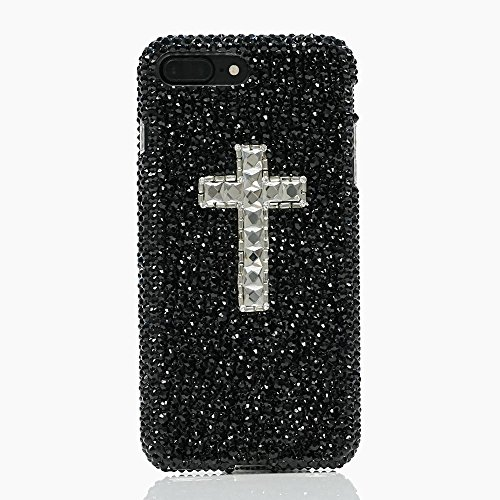 ium Handmade Quality] Bling Genuine Crystals Protective Case Cover for iPhone 10 [by Luxaddiction] Jet Black Crystals with Clear Cross Design (Swarovski Crystal Cross Cell Phone)