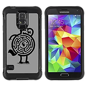Hybrid Anti-Shock Defend Case for Samsung Galaxy S5 / Cat & Mouse Maze