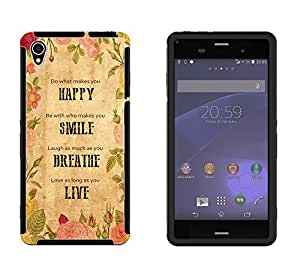 255 - Do what make you happy Be with who make you smile Design Sony Xperia Z3 Full Body CASE With Build in Screen Protector Rubber Defender Shockproof Heavy Duty Builders Protective Cover